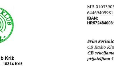 CBRK KRIŽ 15. natjecanje CB radio operatora, CB radio klubova i CB sekcija, 12.09.2020.