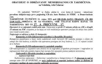 OBAVIJEST O ODRŽAVANJU MEMORIJALNOG CB TAKMIČENJA sa Velebita, vrh Čelavac 11.  rujna  2021.