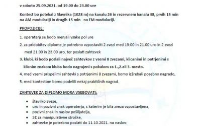 """CB RK OBALA KONTEST """"SLAVNIK 2021"""" 25.09.2021. OD 19:00 DO 23:00 SATI"""