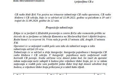 CB radio klub Križ Vas poziva na trinaesto takmičenje CB radio operatora, CB radio klubova i CB sekcija, 11.09.2021. od 19 do 22 sata.